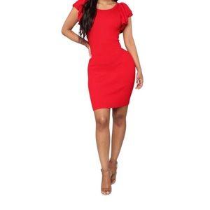 Fashion Nova-Ruffled Sleeved Bodycon Sweater Dress